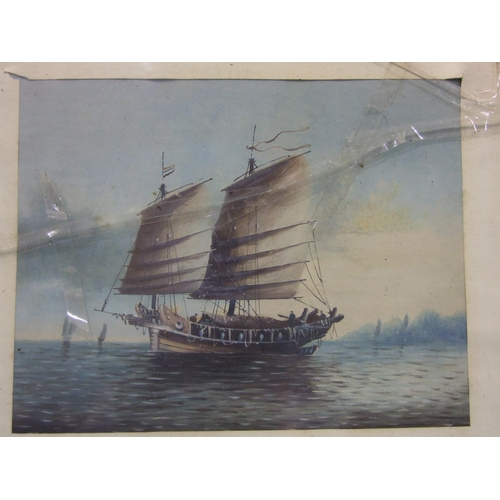 550 - 20th Century Chinese School A THREE-MASTED TRADING JUNK Unsigned gouache, 24 x 31cm and a companion,...