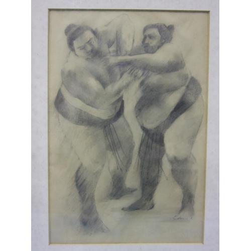 552 - John Werner (?) SUMO WRESTLERS Pastel, indistinctly signed, dated