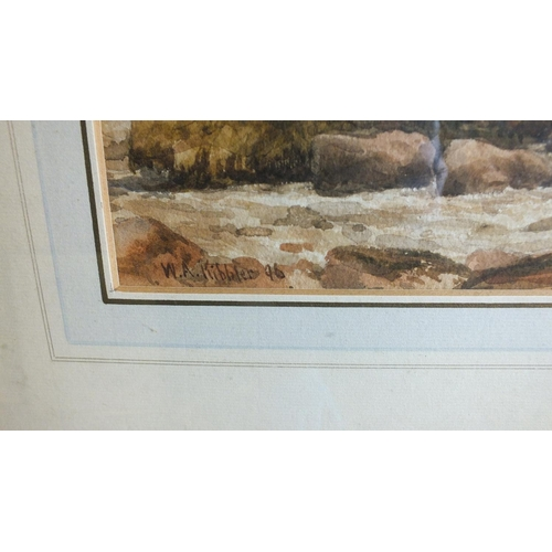 554 - Tom Rowden SHEPHERD DRIVING SHEEP ALONG A MOORLAND TRACK Signed watercolour, dated