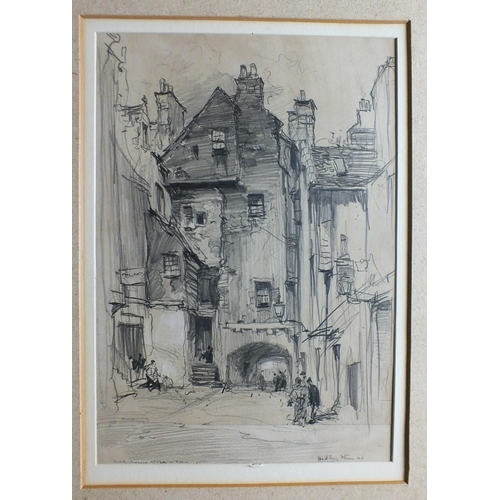 556 - Hedley Fitton RE BAKEHOUSE CLOSE, CANONGATE, EDINBURGH Signed pencil sketch, titled and dated