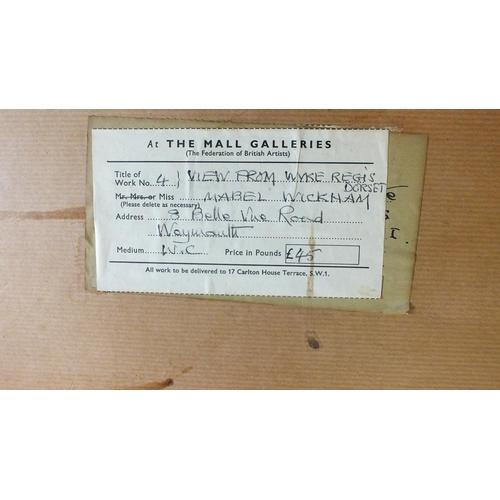 561 - •Mabel F Wickham RI (1901-1992) OLD QUARRY AND WINDMILL, PORTLAND Signed watercolour, 35.5 x 58.5cm,...