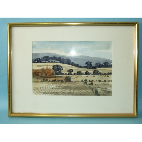 10 - Robert Tavener (1920-2004) OAST HOUSES AND CORNFIELD Signed watercolour, 16 x 24cm, titled Bankside ...