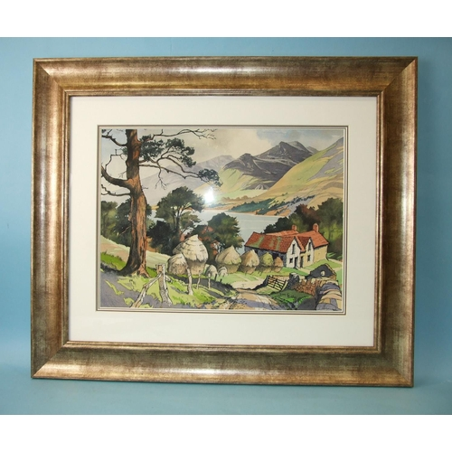 13 - James Priddy RBSA (1916-1980) THE HIGHLAND STEADING Signed watercolour, 34 x 46cm, inscribed on orig...