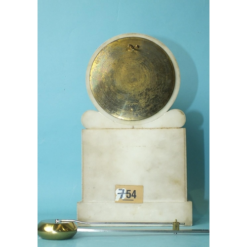136 - Viner & Co, Regent St, London, a white marble mantel timepiece, the carved reeded case of plinth...