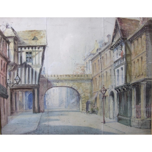 14 - 20th Century THE CITY GATES, CHESTER Unsigned watercolour, 22.5 x 29cm and three other unsigned wate...