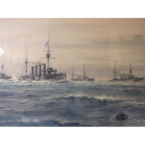 17 - Frank Watson Wood (1862-1953) 1ST CRUISER SQUADRON Signed watercolour, signed lower right Frank Wood...