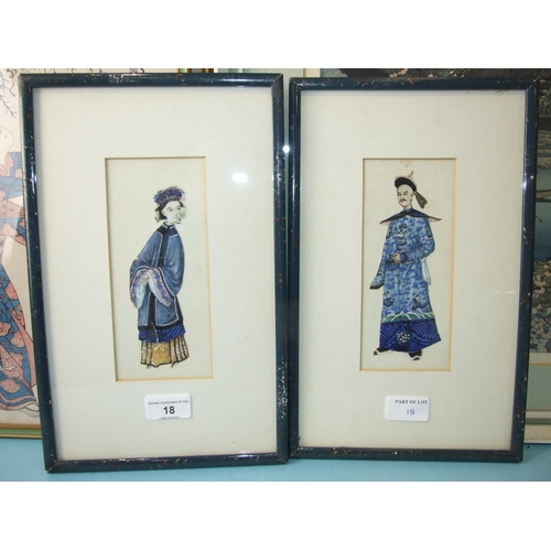 18 - Two Chinese watercolour collage pictures of male and female figures, 18 x 8cm, a Japanese watercolou...