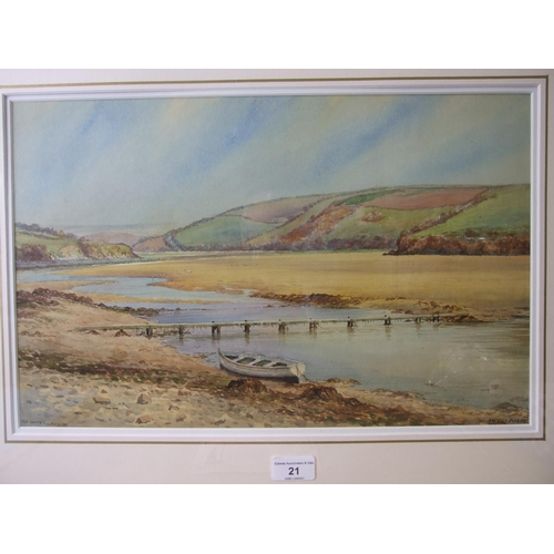 21 - Douglas Houzen Pinder (1886-1945) THE GANNEL, NEWQUAY Signed and titled watercolour, 28.5 x 45.5cm, ...