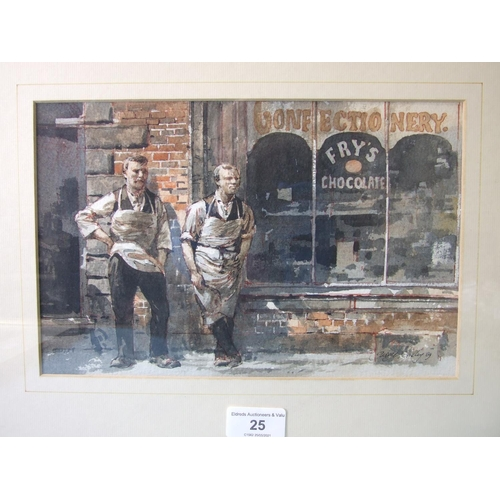 25 - George Busby (1926-2005) FRY'S CHOCOLATE Signed ink and watercolour, dated '89, 17.5 x 27cm, titled ...