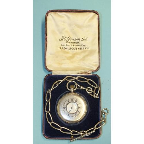 257 - J W Benson, a silver-cased keyless half-hunter pocket watch, the white enamel dial with Roman numera...