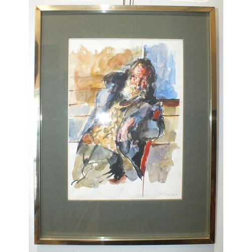 27 - Robert Oscar Lenkiewicz (1941-2002) OLD CYRIL, TRAMP WITH ONE ARM Signed watercolour, inscribed on p...