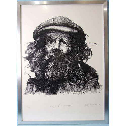 4 - After R O Lenkiewicz (1941-2002), 'Early drawing - Diogenes', signed limited-edition off-set lithogr...