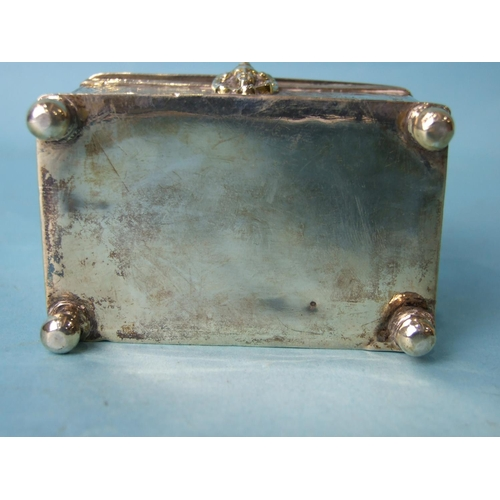 467 - An 18th century Continental marriage casket, the domed lid and rectangular body on ball feet, engrav...