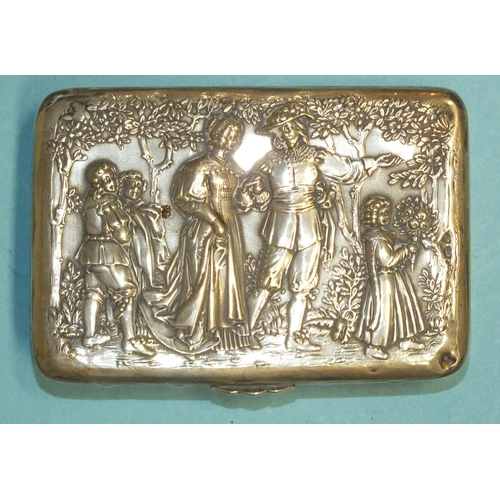 468 - A German silver etui of rectangular form, the lid with embossed scene of a couple and three children...