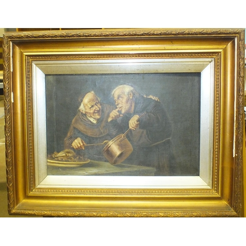 47 - 19th Century Continental School TASTING THE GRAVY, (two monks, one holding a copper saucepan, ...