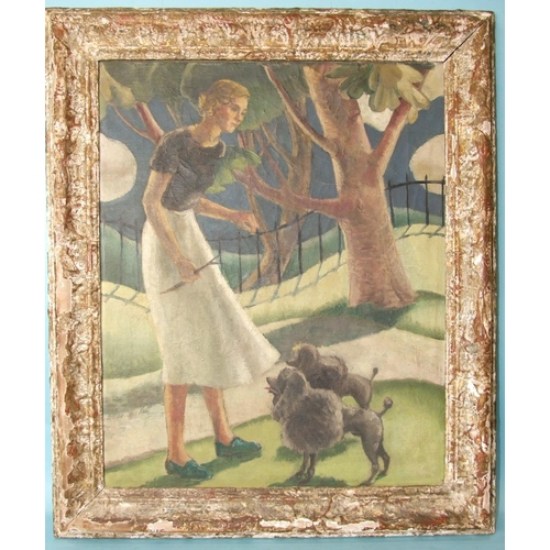 57 - Circa 1930's English School A YOUNG WOMAN HOLDING A STICK WITH TWO POODLES IN A PARK LANDSCAPE Unsig...