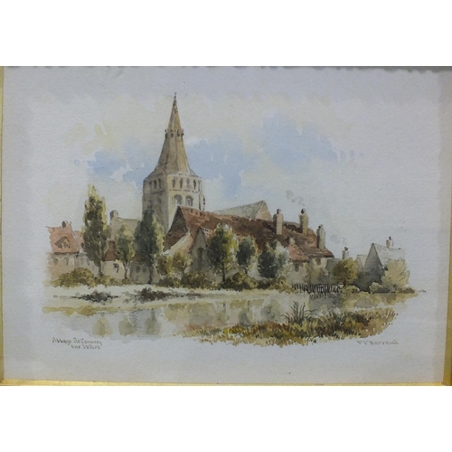 33 - Francis P Baraud (1824-1901) NOTRE DAME, POITIERS Signed and titled watercolour, 11 x 16cm and a com...