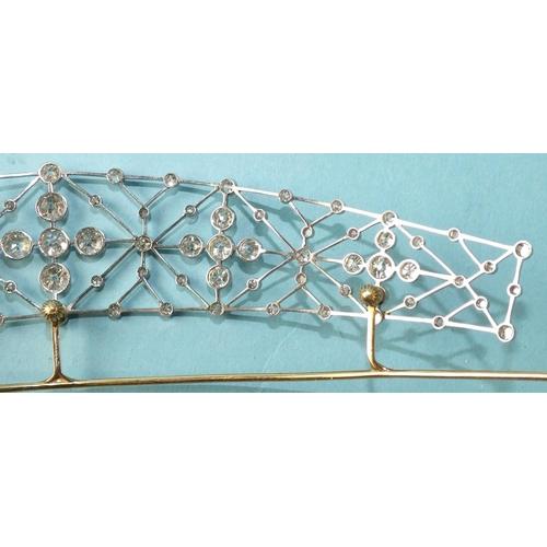 344 - An Edwardian diamond tiara c1910, unmarked, of curved lattice design, millegrain-set old brilliant a...