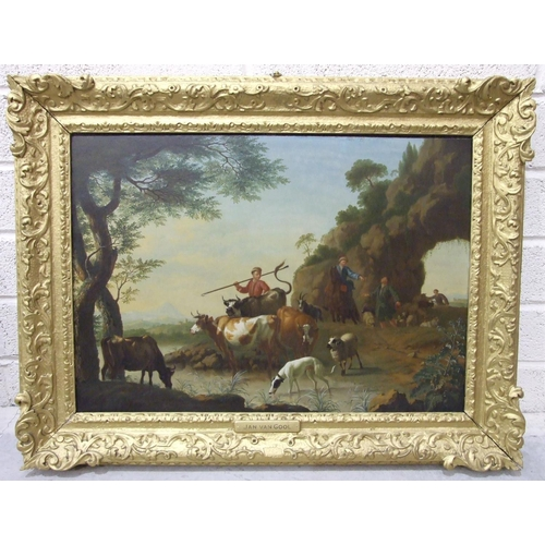 51 - Jan van Gool (1685-1763) PASTORAL LANDSCAPE WITH A SHEPHERDESS AND A YOUNG MAN BESIDE A BARN, WITH C...