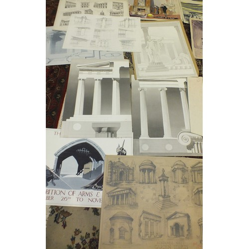 23 - Barrie Arthur Fenton, a collection of mainly folio size watercolour and pencil art school designs, m...