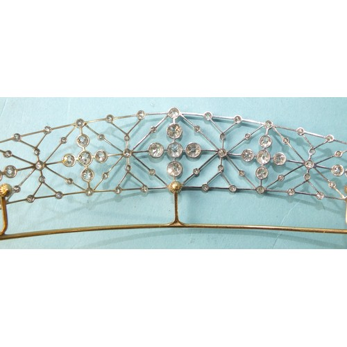 345 - A rose gold tiara frame, 11g, in leather fitted tiara case, with blue velvet fitment and eau de nil ...