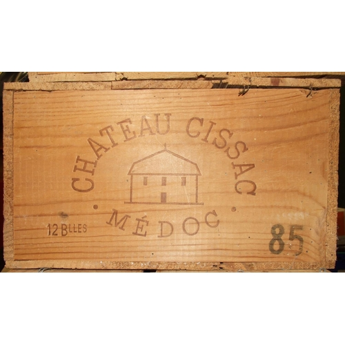 2 - Chateau Cissac Medoc 1985, twelve bottles, in original wooden crate, (12).