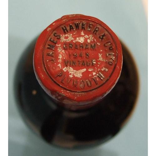 26 - Graham 1948 vintage Port, bottled for James Hawker & Co. Plymouth, (bottom-neck, lead foil intac...