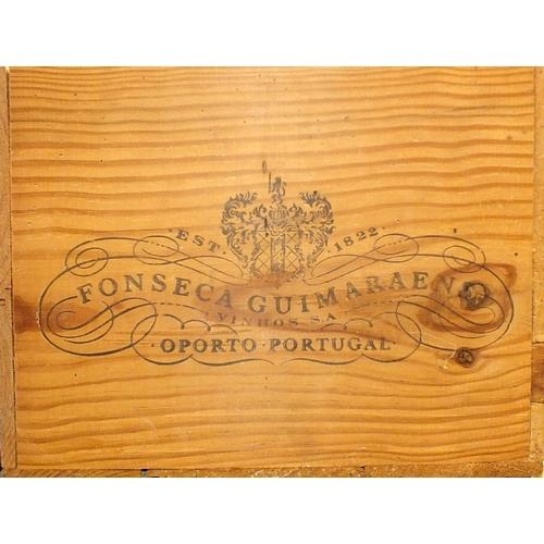 28 - Fonseca Guimaraens vintage Port 1985, twelve bottles, in original wooden crate, (lid lacking), (12)....