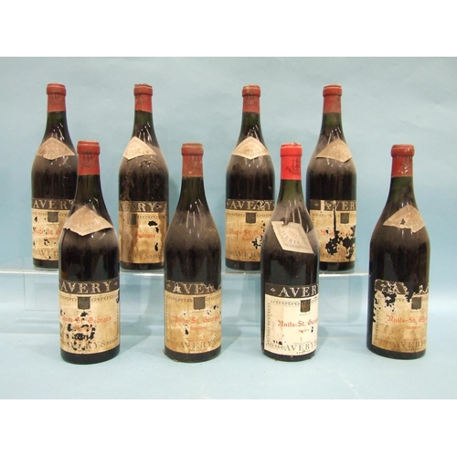 5 - Nuits St Georges Ronclères 1955, Averys of Bristol, eight bottles, (labels and two capsules damaged)...