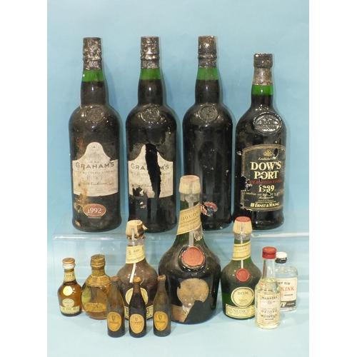 35 - Benedictine Liquor, (50cl), 2 x 12.5cl, a miniature Dimple Haig Whisky with metal cap, other miniatu...