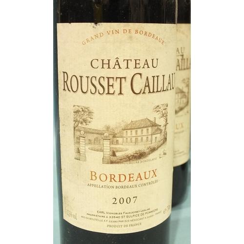 8 - Chateau Rousset Caillau Bordeaux 2007, nine bottles and Côtes du Rhône Villages Le Prieure 2007, Rav...
