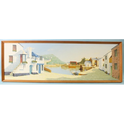 1 - Colin Richardson (British, 20th century) JEW'S HOUSE AND HARBOUR, POLPERRO Signed oil on board, date...