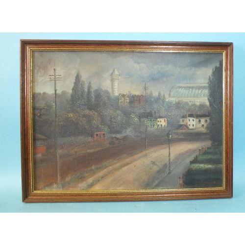 10 - G Venning A NAÏVE VIEW TOWARDS CRYSTAL PALACE Signed oil on canvas laid on board, 24.5 x 34cm....