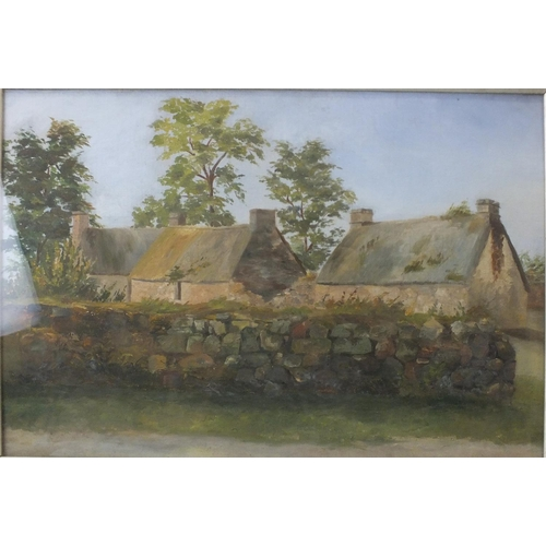 11 - Late-19th/early-20th century GROUP OF THREE THATCHED COTTAGES BEHIND A STONE WALL Unsigned oil on ca...