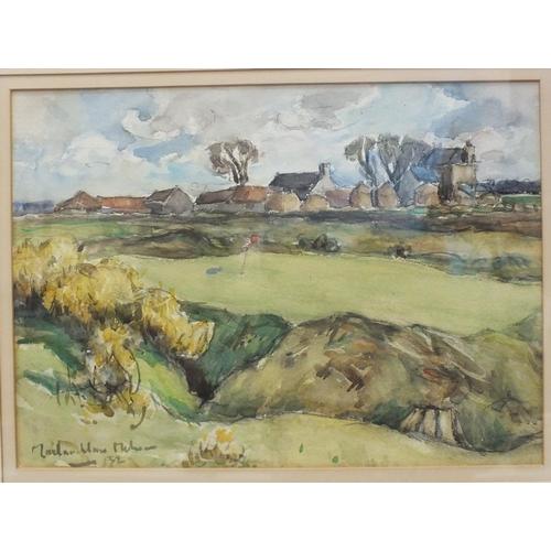 17 - John Maclauchlan-Milne RSA (1886-1957) A GOLF GREEN WITH FARM BUILDINGS BEHIND Signed watercolour, d...
