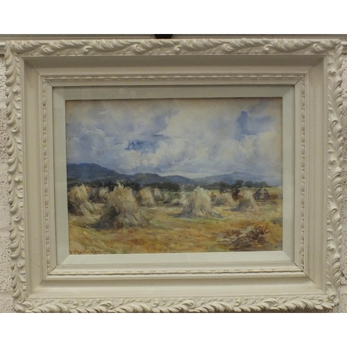18 - Manner of John Maclauchlan-Milne FIGURES AND A CART IN A HARVEST FIELD Watercolour, 26 x 36cm, bears...