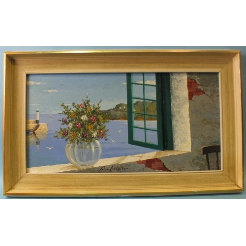 2 - Colin Richardson (British, 20th century) VIEW OF ST IVES HARBOUR AT HIGH TIDE FROM AN OPEN WINDOW WI...