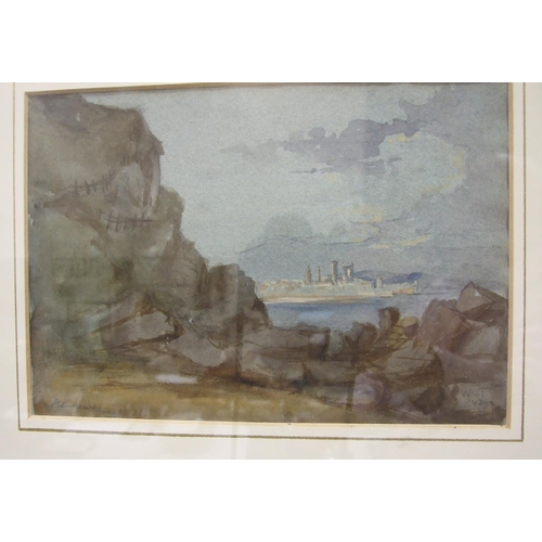 22 - D R Sellars WAITING THE TUG, FISHING BOATS IN A CALM Signed and titled watercolour, 19 x 35cm and an...