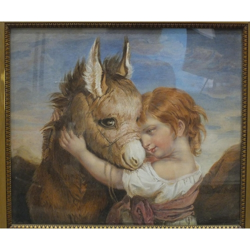 23 - Style of Arthur John Elsley CHUMS, YOUNG GIRL HOLDING THE HEAD OF A DONKEY Unsigned watercolour heig...