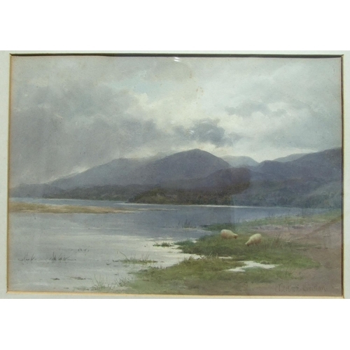 26 - Charles E Brittan (1870-1949) SHEEP ALONGSIDE MOORLAND LAKE Signed watercolour, 24 x 34cm and anothe...