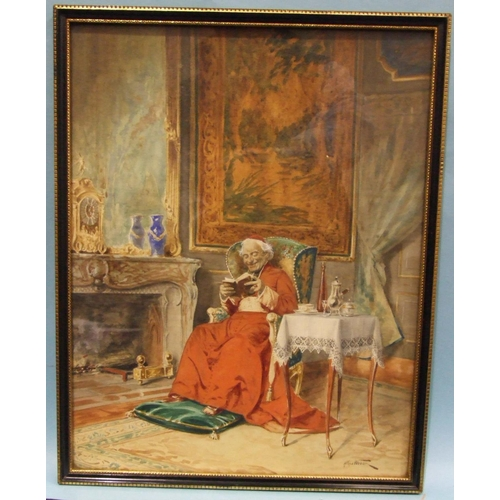 29 - Alfred Charles Weber (French, 1862-1922) A CARDINAL READING A BOOK IN A LAVISHLY-FURNISHED ROOM Sign...