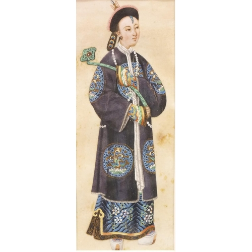 31 - A late-19th century rice paper watercolour depicting a young man in traditional costume, wearing bea...