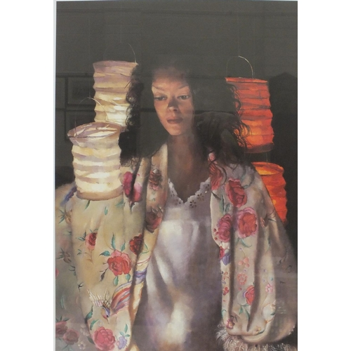 37 - After R O Lenkiewicz, 'Anna with paper lanterns', a limited-edition coloured lithograph, 55.5 x 39cm...