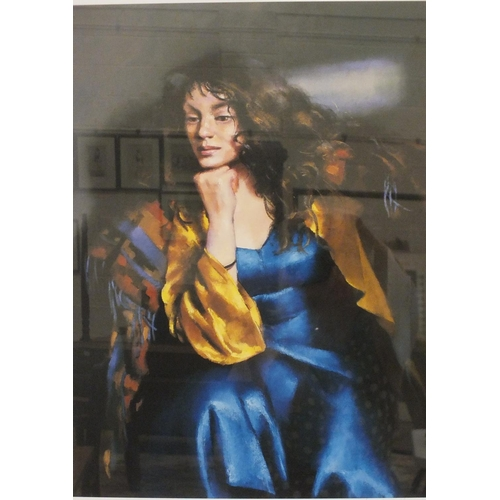 38 - After R O Lenkiewicz, 'Karen Seated', a limited-edition coloured lithograph, 52 x 38.5cm, signed, ti...