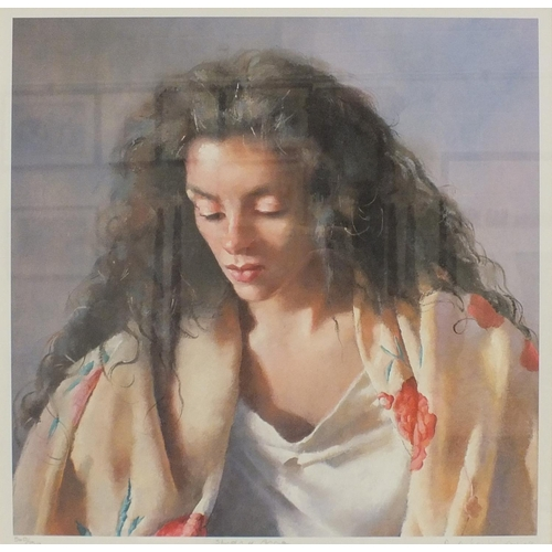 39 - After R O Lenkiewicz, 'Study of Anna', a limited-edition coloured lithograph, 39.5 x 39cm, signed, t...