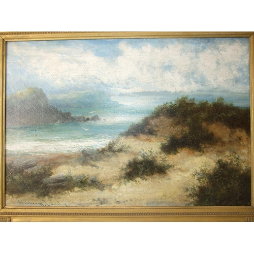 4 - William Langley(1880-1920) COASTAL SCENE WITH DUNES Signed oil on canvas, 40 x 60cm....