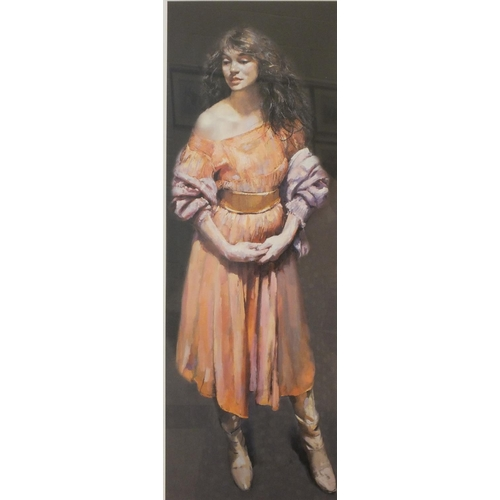 40 - After R O Lenkiewicz, 'Karen Standing', a limited-edition coloured lithograph, 77 x 28.5cm, signed, ...
