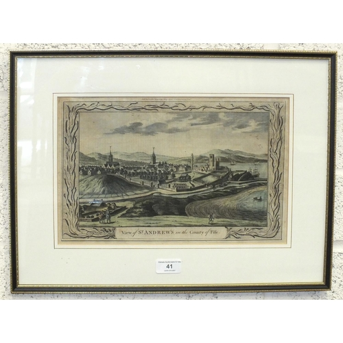 41 - A 19th century hand-coloured engraving 'View of St Andrews in the County of Fife', 23 x 35cm....