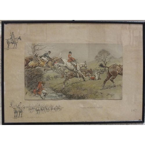 42 - After Snaffles, 'Prepare To Receive Cavalry', a coloured lithograph, signed in pencil within the mou...