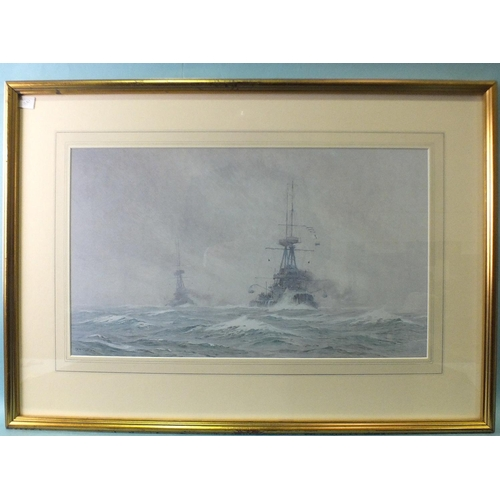 43 - After A B Cull, 'Two warships at sea', a framed, limited-edition coloured lithograph, 34 x 59cm....